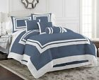 Chezmoi Collection Caprice 7pc Steel Blue White Square Hotel Style Comforter Set image