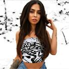 Woman Off Shoulder strapless Letter Printed Sleeveless Crop Top S-L Crop Tank