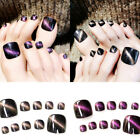 24Pcs Cat Eye Pattern Foot False Nail Tips Fake Short Toes Nails Toe Art Acrylic