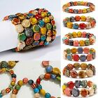 Fashion Colorful Ceramic Beaded Bracelet Women Stretch Flower Bead Charm Bangle image