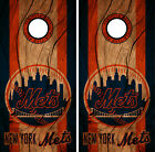 New York Mets Cornhole Wrap MLB Decal Wood Vinyl Gameboard Skin Set YD347 on Ebay