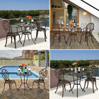 3pcs Patio Bistro Furniture Set Outdoor Garden Iron Table Chair Antique Bronze