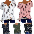 Plus Size Womens Short Sleeve V Neck T-Shirt Boho Floral Loose Tunic Blouse Tops