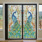 40*60cm Static Cling Window Films Peacock Frosted Glass Sticker Door Decor Retro