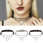 Gothic Punk Leather Choker Heart Pendant Chain Buckle Collar Necklace Jewelry