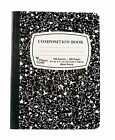 "Black Marble Composition Notebooks 9-3/4"" x 7-1/2"" Wide Ruled 100 Sheet 200 Page"