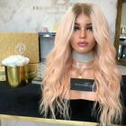 Free Part Lace Front Wig Pink Wave Curly Glueless Synthetic Hair for Sexy Women