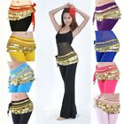 New Woman Belly Dance Costume Festival Velvet Hip Scarf with Gold Coins 8 Color