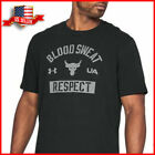 Under Armour Project Rock T Shirt Blood Sweat Respect T-Shirt Black Unisex Tee image