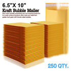 250 #0 Wide Kraft Bubble Padded Envelopes Mailers 6.5 X 10 fit Bags DVD CD Case