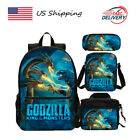 US Godzilla King of The Monsters School Bag 4PCS Bookbag Set Kids Backpack Lot
