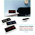 USB Digital Alarm Clock Touch Dimmable Night Light Thermometer Mirror White  New