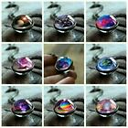 Glow In The Dark Galaxy System Double Sided Glass Dome Planet Pendant Necklace