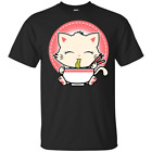 Ramen T-Shirt Cat Tshirt Kawaii Anime Tee Japanese Gift Black T-Shirt M-3XL