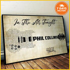 Phil Collins In The Air Tonight Art Lyrics Song Poster US Supplier No Frame