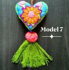 Mexican Floral Felt Hearts Hand Embroidered Rococo Pompom Bag key chain