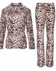 COSY NEW EX AVON LEOPARD PRINT BUTTON FRONT FLEECE PYJAMAS PAJAMAS PJs ~ 18 - 24