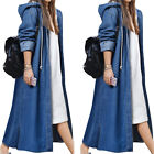 Plus Size Womens Loose Denim Hooded Coat Outwear Jeans Long Windbreaker Jacket