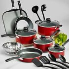 Nonstick 18-Piece 9-PC Pots And Pans Cookware Set Cooking Kitchen Red Gray