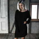 Womens Oversized Cable Knitted Sweater Long Sleeve Pullover Mini Jumper Dress