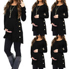 Women Pregnancy Button Solid Long Sleeve Top Casual Maternity Blouse T Shirt Tee