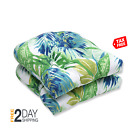 Pillow Perfect Outdoor Indoor Soleil Wicker Seat Cushion, Set of 2, Blue Green