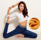Womens Warm Denim Pant Fleece Lined Jeans Thermal High Waist Stretch Trousers