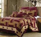 RUSTIC BURGUNDY RED PRIMITIVE PLAID CHECK COUNTRY STAR QUILT SET FARMHOUSE DECOR