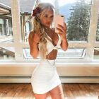 Women Fashion Dress Sexy V Neck Hollow Out Package Hip Bodycon Party Mini Dress