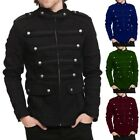 Mens Gothic Military Jacket Band Steampunk Handmade Vintage Style Outwear Coat