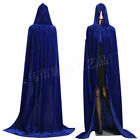US Medieval Velvet Hooded Cloak Halloween Witchcraft Larp Capes Wicca Long Robe