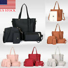 4PCS/Set Women Lady Leather Shoulder Bag Handbag Satchel Clutch Coin Purse US image