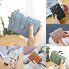 Women Small Handbag Purse Solid Cute Coin Bag Case Leather Simple Trifold Wallet image