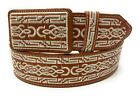 CINTO CHARRO BORDADO. MENS EMBROIDERED WESTERN BELT. VAQUERO LEATHER BELT