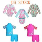 Toddler Girl 1-Piece Long Sleeves Bikini Swimwear Floral Kid Rash Guard Swimsuit