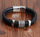 Mens Leather Braided Bracelet Wristband Stainless Steel Clasp Jewellery Gift