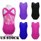 US Girls Ballet Dance Lace Leotards Gymnastics Stretch Bodysuit Jumpsuit Costume