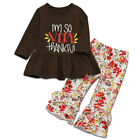 Thanksgiving 2PCS Toddler Baby Girl Kids Dress Top Floral Flare Pants Outfit Set