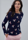 Joules Ladies Harbour Floral Print Jersey Top, Navy Posy