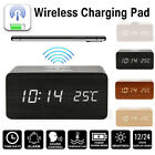 Sound Control Wooden LED Digital Desk Alarm Clock Qi Fast Wireless Phone Charger