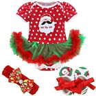 Newborn Baby Girl Christmas Costume Santa Elk Xmas Tutu Romper Fancy Dress 0-24M