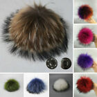 12cm Women Faux Raccoon Fur Pom Pom Ball With Press Button For Knitting Hat Diy