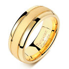 Tungsten Rings For Men Wedding Bands For Him 8mm 14K Gold Finish Grooved Sz 9-12