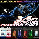 Ambient Light Glowing Micro USB Charging Cable Sync Data 3 / 6 FT Phone XBOX PS4