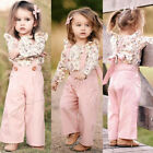 Kyпить US Sweet Toddler Kids Baby Girl Clothes Floral T-Shirt+Strap Bib Pants Outfits на еВаy.соm