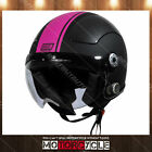 O528 Retro Vintage Cafe Scooter Motorcycle Bluetooth Helmet Black Pink Gara L