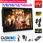 7/9/10/12/14inch Freeview Portable 1080P HDMI HD Digital TV Player Television UK