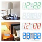 Digital 3D LED Wall Clock Alarm Modern Clock Snooze 12/24 Hour Display USB Decor