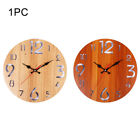 12inch Battery Operated Wall Clock Kitchen Wooden Round Arabic Numerals Silent