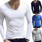 Men Casual V-Neck Long Sleeve Tops Pullover Blouse Solid T-shirt Basic Tee image